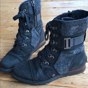 Sorel Major Carly zip up black grey boot 38.5